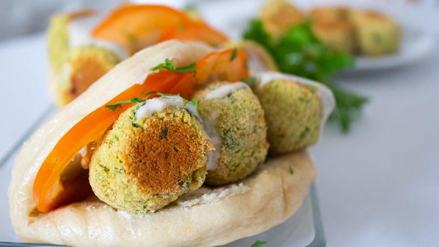 Receta de buns con falafel