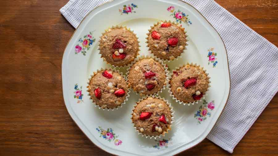 Muffins de avena y frutilla